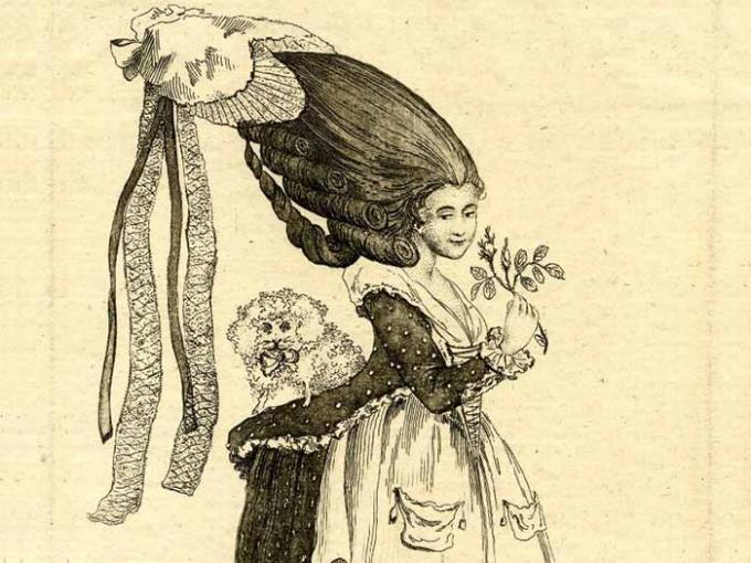 A illustration of a lady in the 18th century with a 'cork rump' so large her dog can sit on it