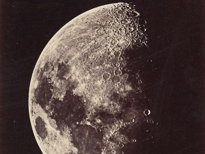 Photograph of moon, Great Melbourne Telescope, 1 September 1873, moon's age 9.0 days, 1873, Melbourne, by Melbourne Observatory. Te Papa (O.000014)