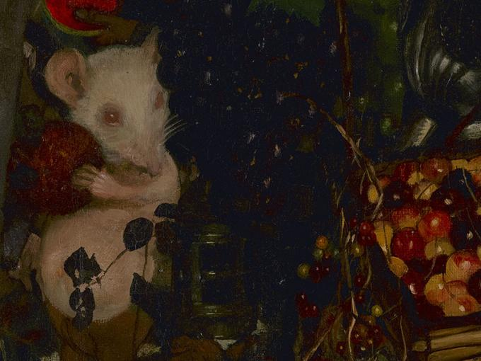 Close-up of a section of Goblin market showing a white mouse holding a piece of fruit