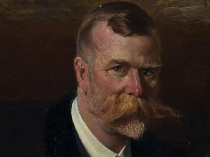 Oil painting of a man with a large moustache