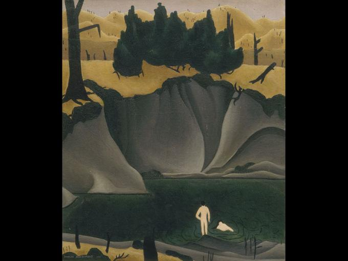 Painting of a pool of water underneath a cliff, with hills and trees in the distance. Two people are bathing in the water