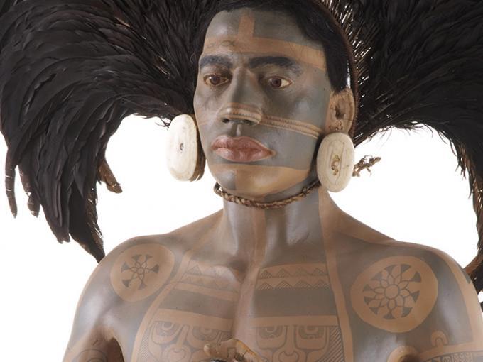 Full size model of a tattooed Marquesan warrior