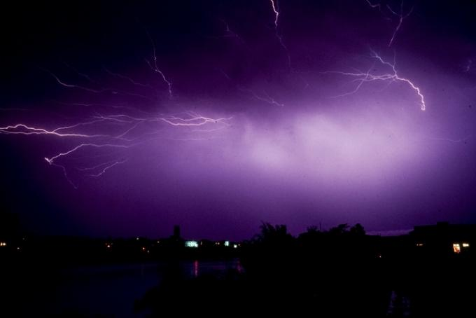 Photograph of a vivid purple Electric storm