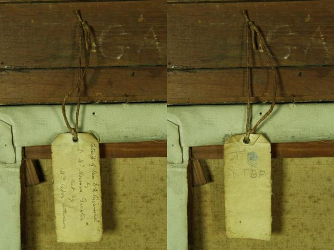 Split photo of the back of a painting with a tag hanging off each version