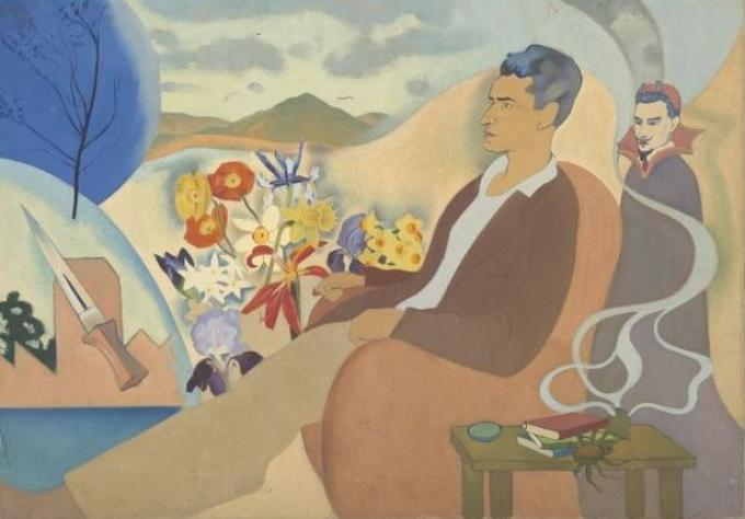 Painting of Douglas MacDiarmid sitting in a chair. A table beside him contains books and smoke rising. Behind him is the Devil, hills and flowers, and a dagger