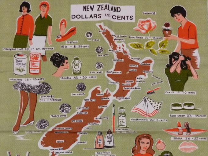 Tea Towel, 'New Zealand Dollars and Cents'