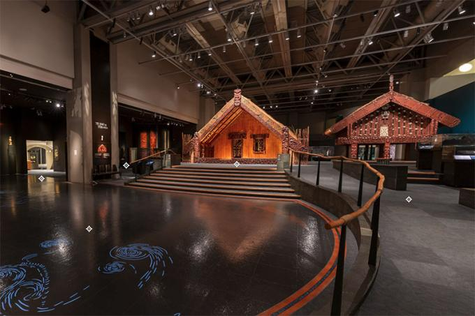 General view of the Ko Rongowhakaata exhibition, showing a Māori meeting house