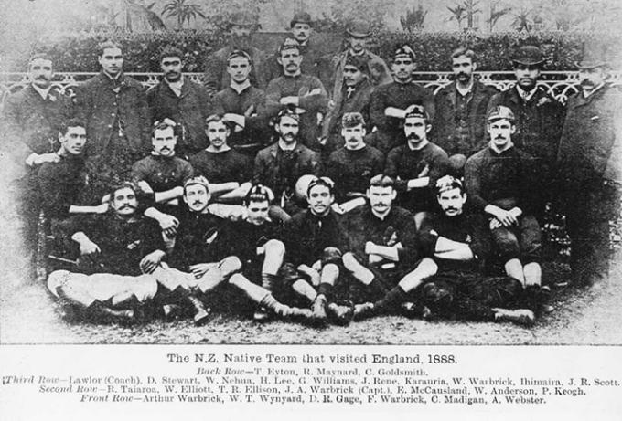 The New Zealand Natives rugby team posing for a team photo