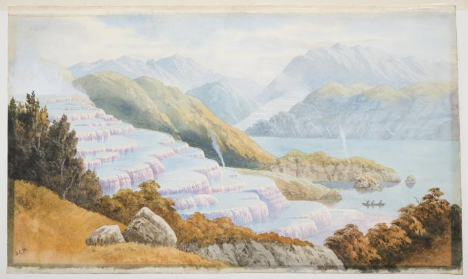 Watercolour of pink terraces