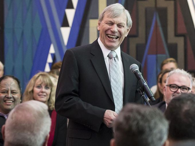 Sir Peter Snell laughs