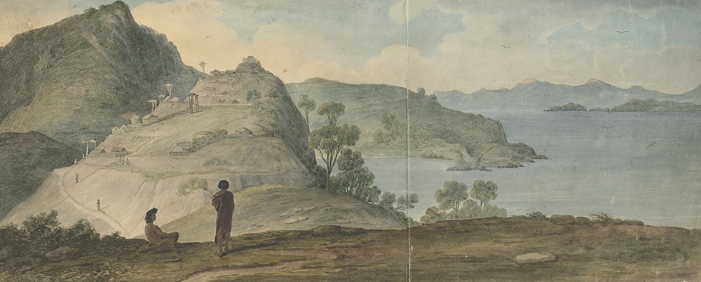 Painting of two people on a cliff looking out to a harbour, with a pā in the distance