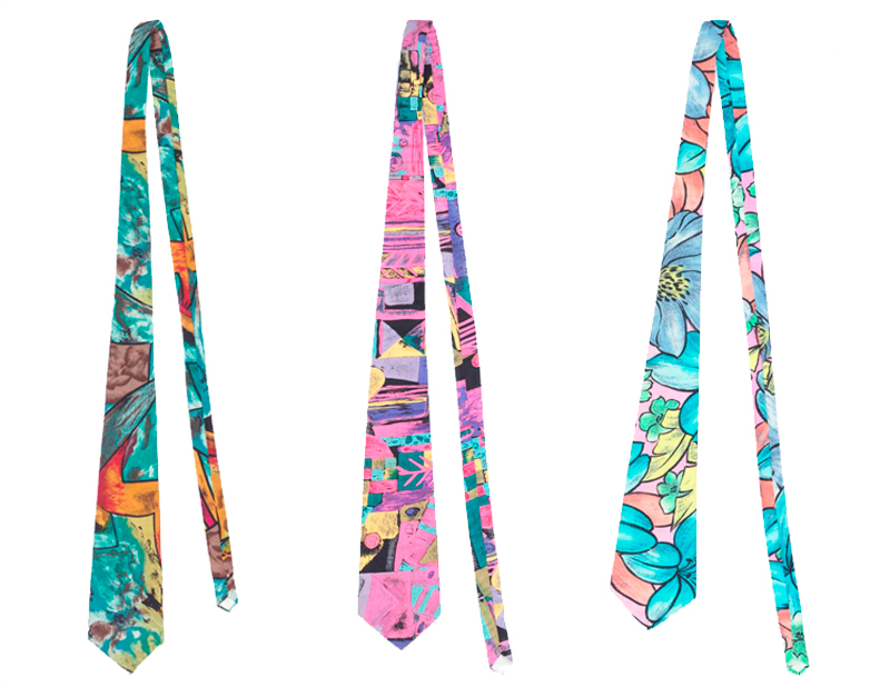 3 ties in bright coloured prints