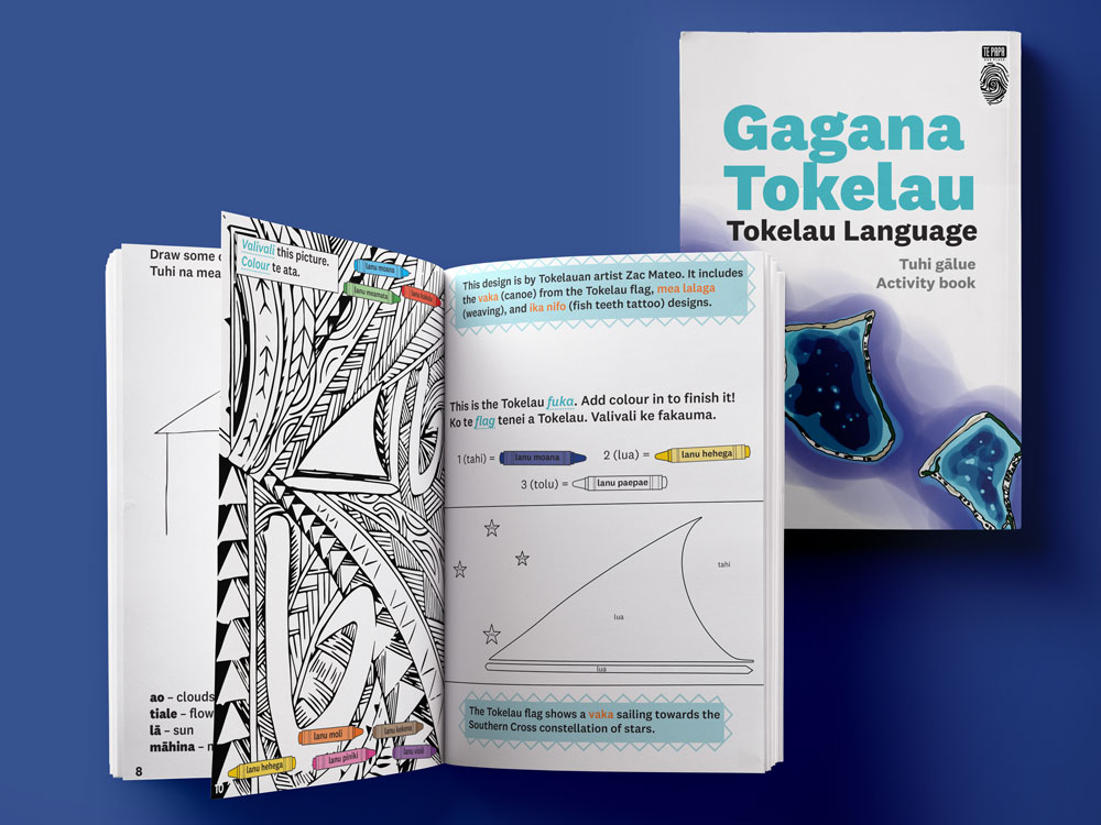 Front cover of the Tokelau language activity book and some inside pages picturing the Tokelau flag