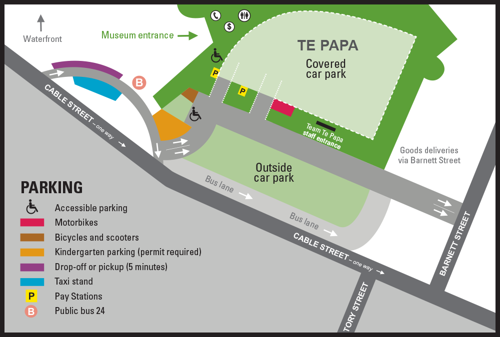 Parking at Te Papa map